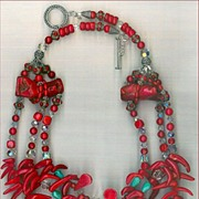 SALE Red Coral & Tibetan beads : Red Chili Pepper Coral
