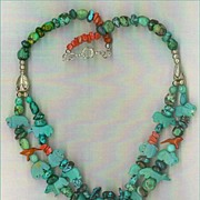 SOLD Carved Turquoise Pendant & Turquoise Fetish beads : Squirrel Mountain