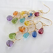 Allegria - Multi Gemstone, Hand Forged 14K Gold Filled or Sterling Silver Dangle Earrings
