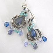 Blue Reign - Labradorite, Tanzanite, Kyanite, Apatite, Iolite, Blue Topaz, Sterling Silver Post Earrings