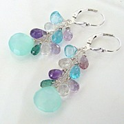 Jewels - Aqua Chalcedony, Apatite, Rock Crystal, Amethyst, Tourmaline, Sterling Silver Earrings