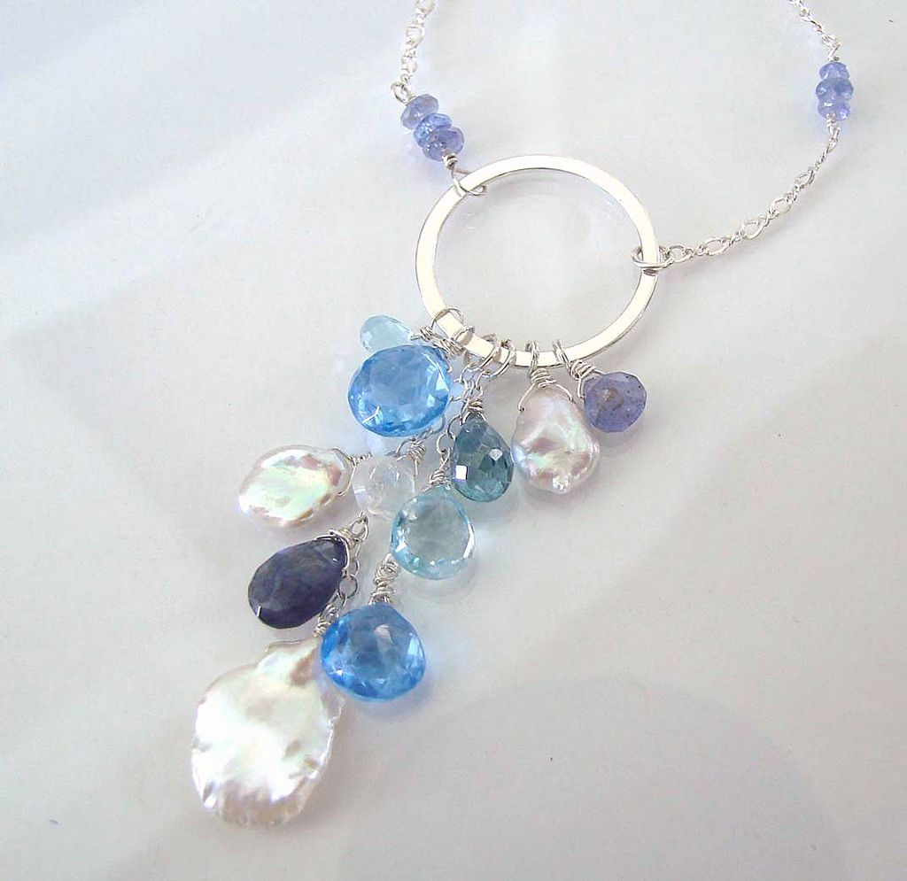 Something New, Something Blue - Faceted  Blue Topaz, Iolite, Moonstone, Tanzanite, Keishi Pearls, Sterling Silver Necklace