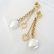 Cara Mia - Earrings - Coin Pearl, 14K Gold Filled, Vermeil, Post Dangles
