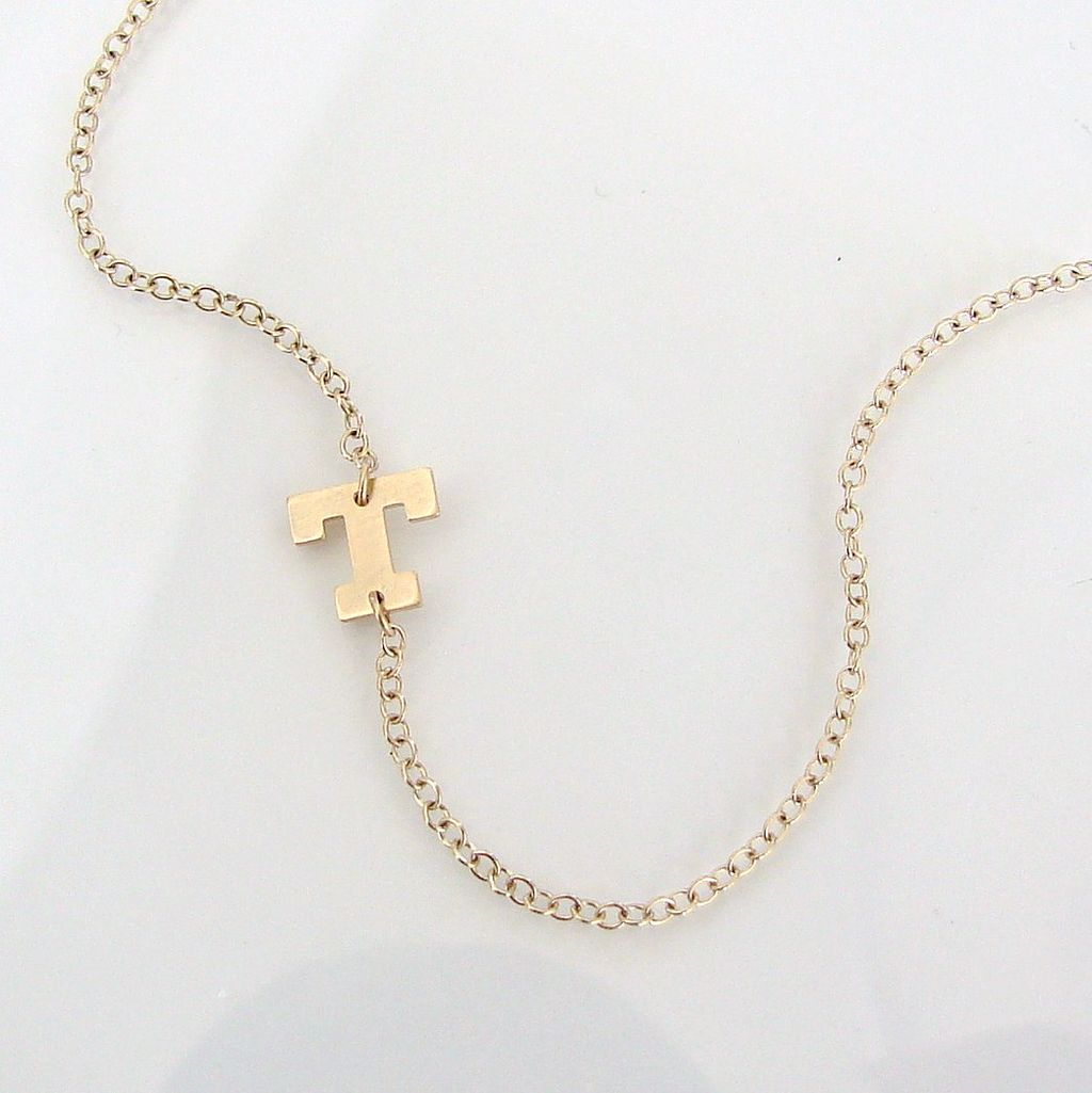 Sideways Initial Necklace- 14K SOLID GOLD Initial, 14K Gold Filled Chain - You Asked For It, So Here It Is