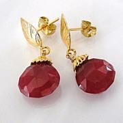 SOLD Genuine Ruby Earrings - 10 Carats of Large Faceted Ruby Drop Earrings - Vermeil Leaf Ear