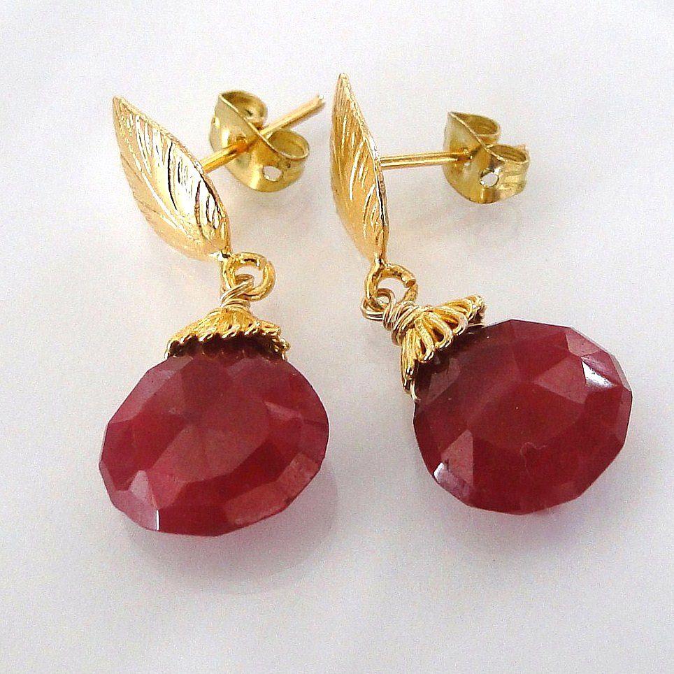 Genuine Ruby Earrings - 10 Carats of Large Faceted Ruby Drop Earrings - Vermeil Leaf Ear Posts