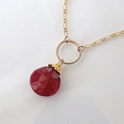 Genuine Ruby Necklace - 5 Carats- 14K Gold Filled And Vermeil Ruby Drop Necklace