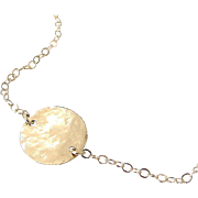 NEW 14K Solid Gold Femme- Ultra Feminine, Solitary Hammered Circle Necklace