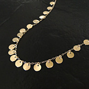 14K SOLID Yellow Gold Tiny Disc Necklace - Also Available in White Gold