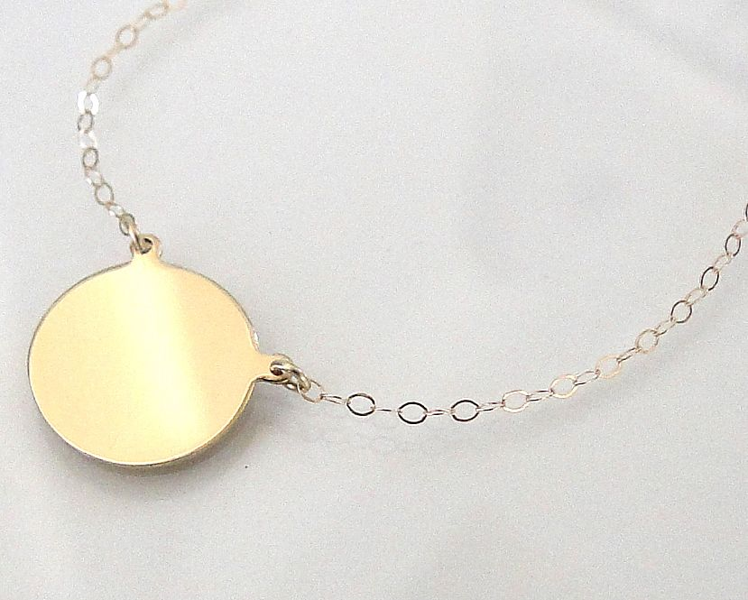 14K Gold Disc Necklace - Yellow Gold or White Gold - Can Be Engraved