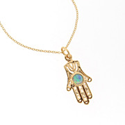 14k Gold Filled Hamsa Hand Necklace With Opal - 16""