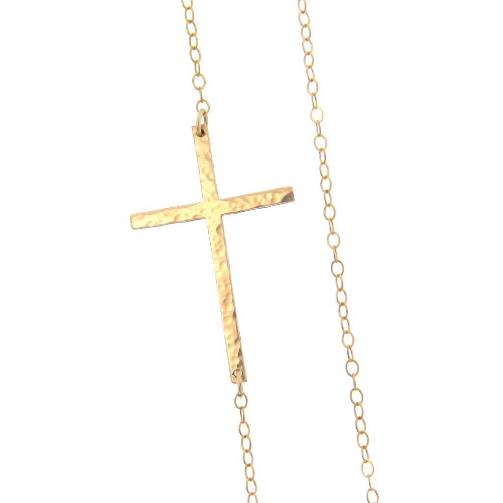 Sideways Cross Necklace, Off Center - Long, Sleek, And Hammered, 14K Gold Filled