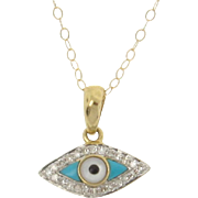 14K Gold And Diamond Evil Eye Necklace Set With Turquoise And Mother of Pearl, Yellow or White