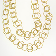 "14K SOLID Gold 38"" Chain - 10mm Double Links - Layering Chain, Can Be Doubled"