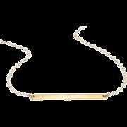 14K Gold Stick Necklace, Thin Horizontal Bar Necklace, Celebrity Style - Cameron Diaz
