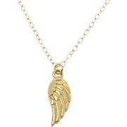 14k GOLD Angel Wing Necklace - Small Detailed Wing Protective Guardian Angel - Yellow, White,