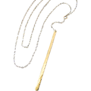 Vertical Bar Necklace, Lariat Necklace, Y Necklace, Stick Necklace, 14K Yellow, White, or Rose