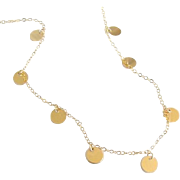Gold Coin Drop Necklace, As Seen on Luxy Hair Videos - Mimi Ikonn, 14K Gold, Gold Filled, Rose