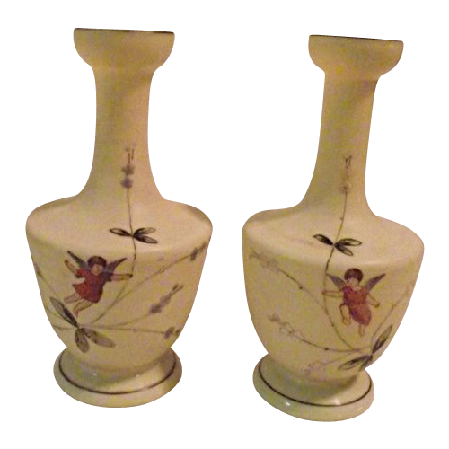 Victorian Era Bristol Glass Pair of Vases with Hand Painted Fairies