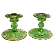 Cambridge Green Glass Etched Gold Encrusted Candleholders
