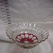 Westmoreland Waterford / Wakefield Ruby Flashed Compote Signed