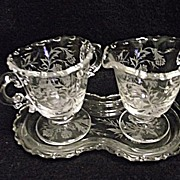 Fostoria Etched Heather 3 Pc Mini Creamer Sugar and Tray Set