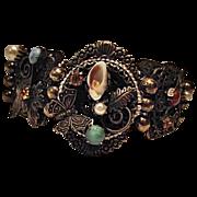 SALE Ornate Large Link Vintage Bracelet Butterfly Brass Semi Precious Stones