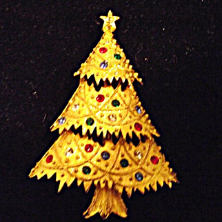 Nice Eisenberg Ice Christmas Tree PIn Gold w/ Rhinestones