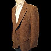 SALE Vintage Harris Tweed Mens Brown 100% Scottish Wool Blazer Sport Coat 42 Reg