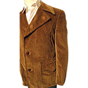 SALE Vintage Europe Craft Mens 40 Corduroy Western Coat Jacket Wide Lapel