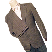 SALE Vintage Hickey Freeman Boardroom Mens Wool Bld 2PC Suit 38 Reg Gray Tweed