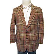 Vintage Lonbrooke Jodhpurs Mens Brown Wool Plaid Blazer Sport Coat 40R