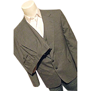 SALE Vintage English Manor Mens Gray Wool Pin Stripe 3PC Suit 44S Jacket Vest 37W
