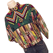 SOLD FANTASTIC Regional's Guatemala Hand Woven Mens M Womens Lg Jacket Rainbow Colors