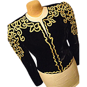 STATEMENT PC Farinea Collections Womens Black Velvet Jacket Gold Braid 12 USA