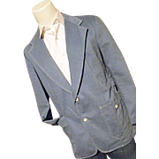 Vintage 1970's Lee Mens Lt Blue Denim Blazer Sport Coat 46L 46 Long WIDE LAPEL