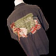 Vintage Tommy Bahama Mens Hawaiian Shirt M Silk Gamble Showgirl Gambling Gray