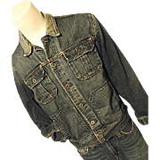 Vintage Polo Jeans Ralph Lauren Mens Faded Denim Trucker Jacket Lg