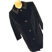 Vintage Womens Black Velvet Embellished Beading Custom Tailor Made Coat Sm Evening