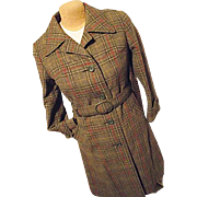 Vintage German Loden Frey Springer Womens Green Wool Mohair Plaid Coat Sm
