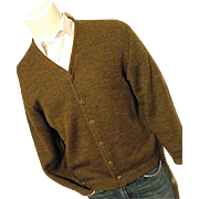 ATOMIC Vintage Columbia Knit Thunderbird Mens Old Man Cardigan M 100% Wool Brown