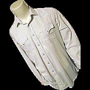 ROCKABILLY 1970's H Bar C Mens Western Shirt Lg Dacron White Blue Stripe Snaps