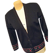 Vintage Pendleton Woolen Mills Womens Black Cardigan Sweater Lg Long 100% Wool