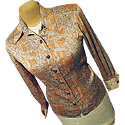 Vintage Womens Orange Silver Snakeskin Pattern Silk Blouse France 40 Sycomore