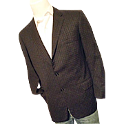 ATOMIC Robert Hall Mens Wool Blazer Black Tweed w/ Red Gray Flecks 42R