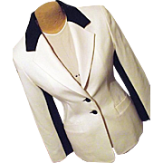 HAUTE COUTURE Womens Wool Blazer White and Black Wool Buttons Sleeve 6 Spiegel
