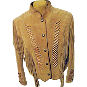 Vintage Cripple Creek Womens Leather Western Native American Fringe Jacket L