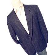 Vintage Oleg Cassini Mens Royal Blue Linen Tweed Blazer Sport Coat 44 S