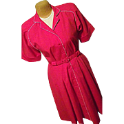 Vintage I LOVE LUCY Red Dress Belted Womens 6 Med 70's Willi of California