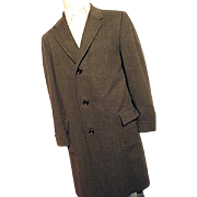 Vintage 1950's Hickey Freeman 100% Wool Dk Gray Pin Stripe Overcoat Top Coat